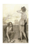 Two Partially-Clad Women by a Wall in a City, 1897 Giclee Print by Armand Rassenfosse