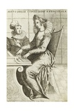 Woman at Harpsichord, Engraving Giclee Print by Giacomo Franco
