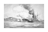 Hms Queen Elizabeth Bombarding the Dardanelles Defences in 1915 Giclee Print by Charles John De Lacy