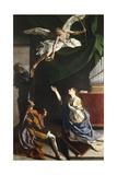 Saints Cecilia, Valerian, and Tiburcio, Circa 1620 Giclée-tryk af Orazio Gentileschi