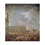 View of Quirinale and Piazza Di Monte Cavallo Reproduction procédé giclée par Giovanni Paolo Pannini