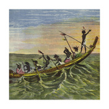The King of the Ashantees at Sea in His State Canoe Giclee Print by Ernest Henry Griset