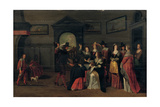 Elegant Company Playing the Game of La Main Chaude in an Interior Giclee Print by Christoffel Jacobsz Van Der Lamen