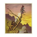 The Three Mariners Escape a Lion by Climbing a Tree Giclee Print by Ernest Henry Griset
