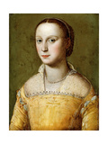 Portrait of Eleanora D'Este, Half-Length, Wearing a Gold Dress Giclee Print by Alessandro Allori