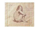 Naked Girl Sitting, Drawing Giclee Print by Jean-Baptiste-Camille Corot