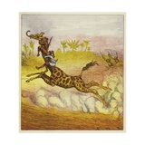 The Brothers Bold Escape the Gorillas by Riding a Giraffe Giclee Print by Ernest Henry Griset