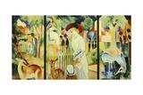 Great Zoological Garden, Triptych, 1912 Giclée-tryk af Auguste Macke