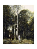 Promenade in Parc Des Lions at Port-Marly Giclee Print by Jean-Baptiste-Camille Corot