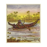 The Brothers Bold Travelling on the Nile by Crocodile Giclee Print by Ernest Henry Griset