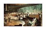 Cicero in the Senate Denouncing Catiline Giclee Print by Cesare Maccari