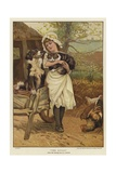 A Young Girl Holding a Cat in Her Arms Alongside a Dog Giclee Print by Edward Killingworth Johnson