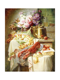 Still Life with a Lobster and Assorted Fruit and Flowers Giclee Print by Modeste Carlier