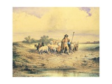 Shepherd in the Paestum Countryside Giclee Print by Consalvo Carelli