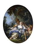 A Shepherd and a Shepherdess in Dalliance in a Wooded Landscape, 1761 Giclee Print by Francois Boucher