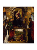 Madonna Enthroned with Saints or Pala Ghedini, 1497 Giclee Print by Lorenzo Costa