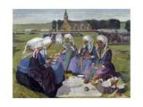 Women of Plougastel at Pardon De Saint Anne-La-Palud Giclee Print by Charles Cottet