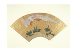 Unmounted Fan: Bird Diving onto Snow-Covered Bamboo, C.1700-60 Giclee Print by  Japanese School
