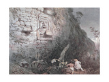 Carved Head of Itzamna in Izamal Giclee Print by Frederick Catherwood