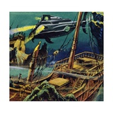 The Nautilus Passed over the Wrecked Hulks of Two French Galleons Giclee Print