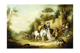 A Hawking Party Setting Out from the Steps of a Country House, 1828 Giclee Print by Francis Calcraft Turner
