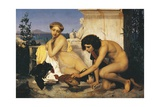 Young Greeks and Fighting Cockerels Giclee Print by Jean-Leon Gerome