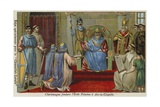 Charlemagne Founding the Palatine School at Aachen, Late 8th Century Giclee Print
