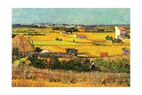 Harvest at La Crau with Montmajour in the Background Stampa giclée di Vincent van Gogh