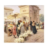 The Lily Market at Porta Garibaldi in Milan Giclee Print by Achille Beltrame