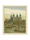Boats on the River Thames with the Tower of London Beyond Giclee Print by Thomas Crane