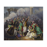 Scene of Celebration with Figures in Traditional Dress Giclee Print by Joseph-Louis Hippolyte Bellange