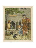 A Young Girl Stands Nervously Beside a Yeoman of the Guard Giclee Print by Thomas Crane