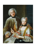 Portrait of Francois De Jullienne Standing Beside His Wife, Seated, C.1743 Giclee Print by Antoine Coypel