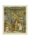 Interior View of People Among the Flowers on Sale in Covent Garden Giclee Print by Thomas Crane
