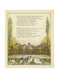 Lines of Verse Illustrated by an Image of People on a Bridge Giclee Print by Thomas Crane