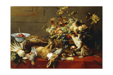 A Basket of Fruit on a Draped Table with Dead Game and a Monkey Giclee Print by Frans Snyders