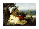 The Woman with the Parasol; Bay of Douarnenez, 1871 Giclee Print by Jules Breton