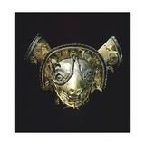 Gold Feline Mask with Platinum Eyes, Originating from La Tolita Giclee Print