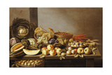 Bowls of Fruit and Nuts on a Wooden Table with a Basket of Pears Beneath Giclee Print by Floris van Schooten