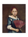 Young Girl with Fan, Ca 1740 Giclee Print by Giacomo Ceruti