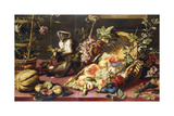 A Spilled Basket of Fruits on a Draped Table with Monkeys Giclee Print by Frans Snyders