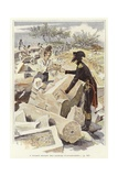A Soldier Passing a Pot to Another Soldier Among Ruins of Nicopolis Giclee Print by Felicien Baron De Myrbach-rheinfeld