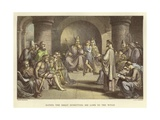 Alfred the Great Submitting His Laws to the Witan Giclee Print by John Bridges