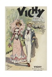Old Man and Young Girl Walking, Advertisement for Vichy Giclee Print