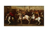 Gladiators and Roman Soldiers Entering Circus Giclee Print by Aniello Falcone