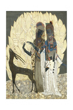 Two Stylised Women with an Antelope Amongst Foliages, C.1928 Giclee Print by Francois-Louis Schmied