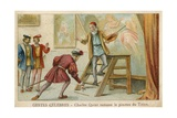 Trade Card Depicting Charles Quint Picking Up the Brush of Titian Giclee Print