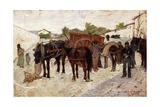 Stopping in Maremma or Scene of Country Life Giclee Print by Giovanni Fattori