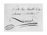 Lavoisier's Autograph from a Letter, 31st August 1769 Giclee Print by Antoine Laurent De Lavoisier
