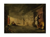 Underground Chamber of Pyramid of Giza, Engraving Giclee Print by Luigi Mayer